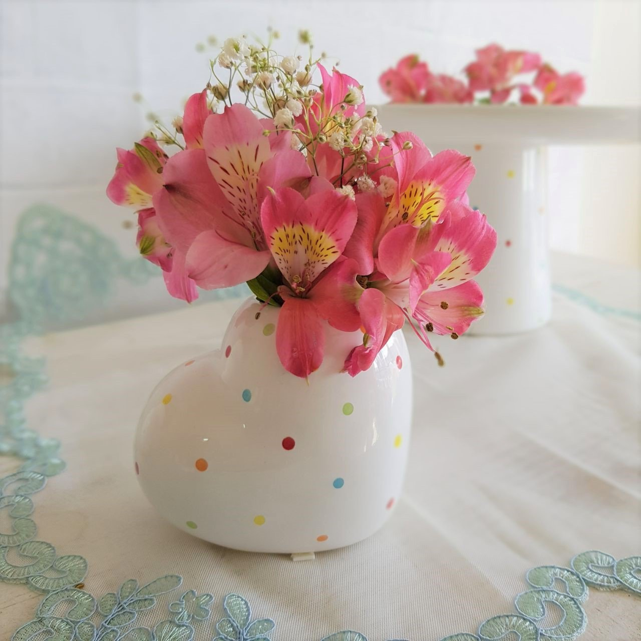 11 359 vaso decorativo ceramica coracao poa colorido 10 5x7 5cm silveira