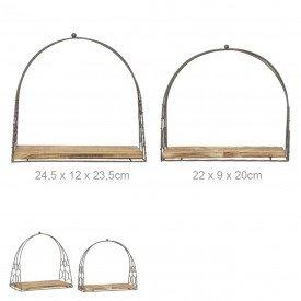 suporte ferro com madeira decorativo 2 pecas 68313001 d a casa cafe mel
