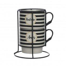 caneca de ceramica dupla 300ml com suporte 72571001 d a casa cafe mel 2
