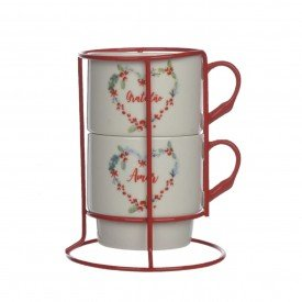 caneca de ceramica dupla 300ml com suporte vermelho 72573001 d a casa cafe mel 2