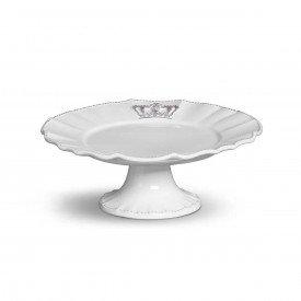 prato bolo com pe ceramica windsor m o30cm branco 335376 porto brasil casa cafe mel 1