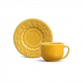 xicara de cha ceramica esparta 6 pecas mostarda 410596 porto brasil casa cafe mel