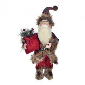 papai noel boneco de natal vermelho xadrez 34cm 72758001 d a casa cafe mel 1