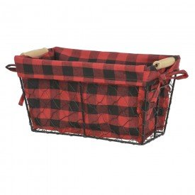 cesta de arame natal xadrez vermelho 15x29x14cm 74865001 d a casa cafe mel